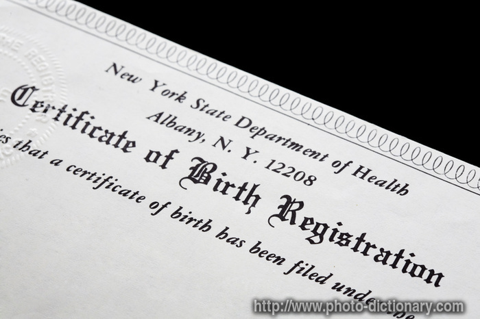 birth certificate - photo/picture definition at Photo Dictionary ...