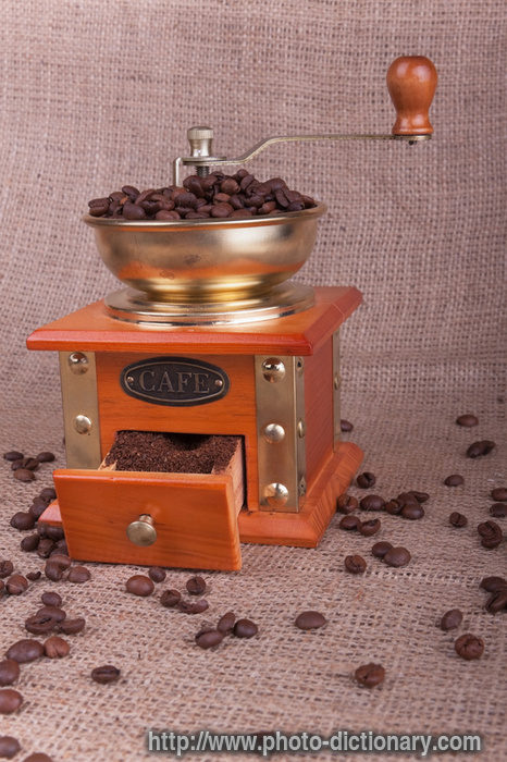 coffee grinder - photo/picture definition - coffee grinder word and phrase image