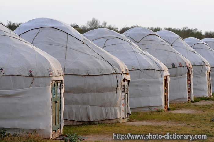 yurt camp - photo/picture definition at Photo Dictionary - yurt camp word  and phrase defined by its image in jpg/jpeg in English