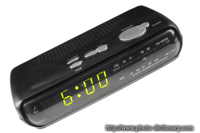 digital alarm clock radio photo picture definition at photo dictionary digital alarm clock. Black Bedroom Furniture Sets. Home Design Ideas