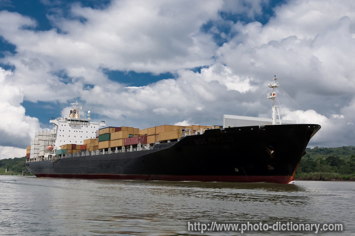 cargo container ship - photo/picture definition at Photo
