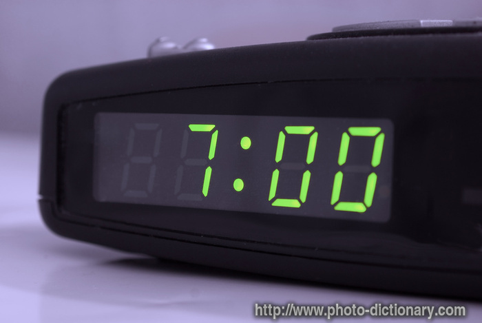 digital alarm clock photo picture definition at photo. Black Bedroom Furniture Sets. Home Design Ideas
