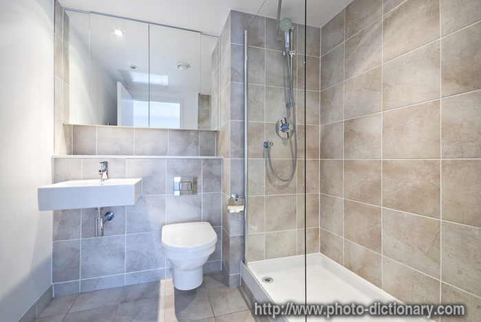 En suite bathroom photo picture definition at photo dictionary en suite bathroom word and - Shower suites for small spaces photos ...