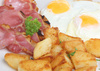 bacon with fried eggs - photo/picture definition - bacon with fried eggs word and phrase image