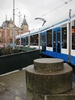 tram in Amsterdam - photo/picture definition - tram in Amsterdam word and phrase image